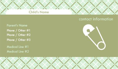 Safety Pin Mommy Card Business Card Template